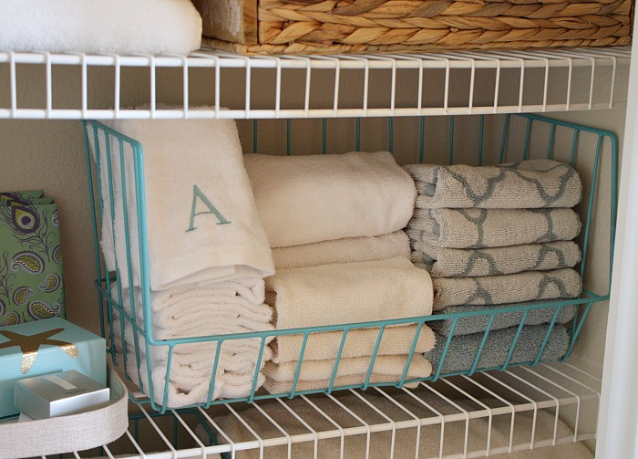 Organized linen closet. The Creativity Exchange
