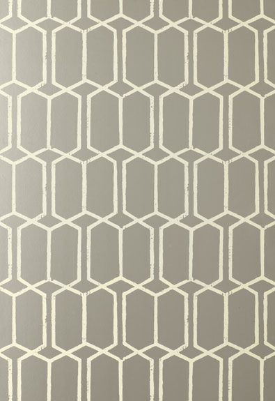 Schumacher Modern Trellis Wallpaper in Silver.  Wallpaper Crush.  The Creativity Exchange