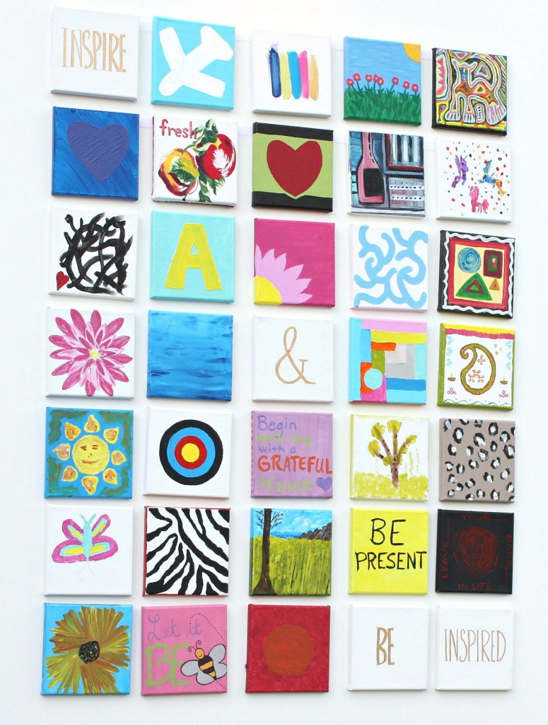 Tutorial for creating a small paintings gallery wall.  Great paint party idea.  The Creativity Exchange