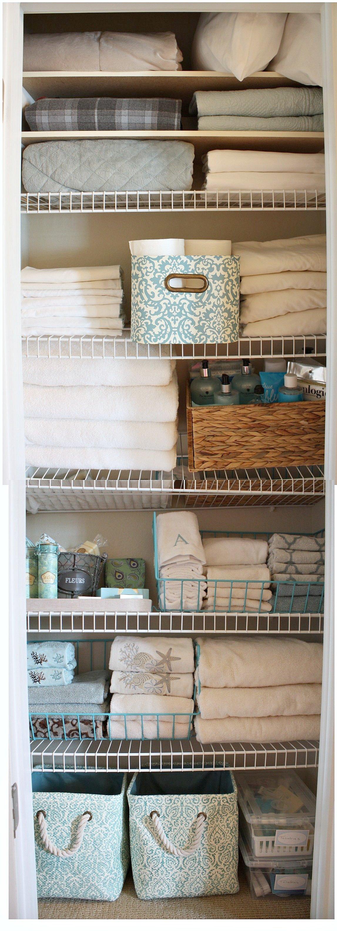 Organizing a linen closet - Organisation salle de bain ...