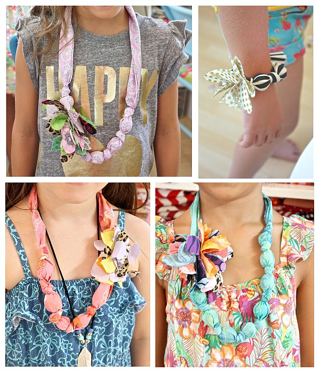 Adorable kid's craft project.  DIY fabric covered necklaces and bracelets.  The Creativity Exchange