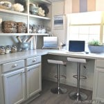 Built in cabinets painted with Mindful Gray by Sherwin Williams. The Creativity Exchange