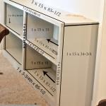 DIY Hidden Buffet Storage Piece with rough dimensions. The Creativity Exchange