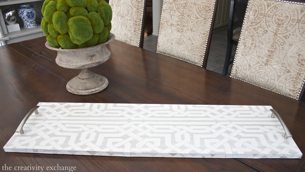DIY oversized tray using plywood board and cabinet hardware.  So Easy!  The Creativity Exchange