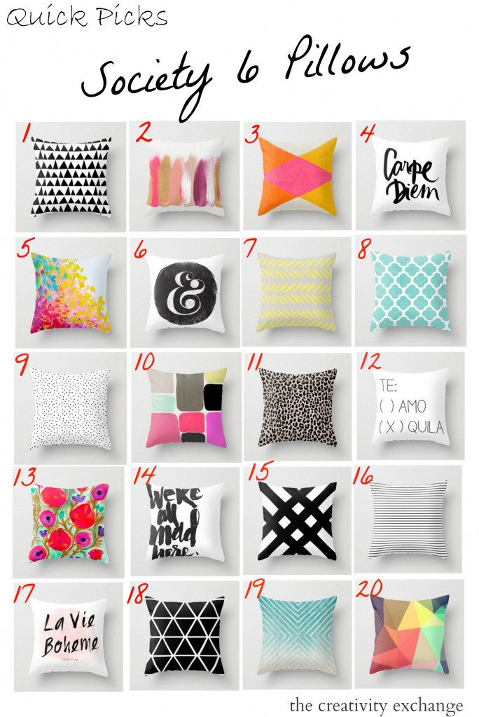 Round-up of pillows available on Society 6.  Artist upload their artwork and this store puts their work on products and sells it.  The Creativity Exchange