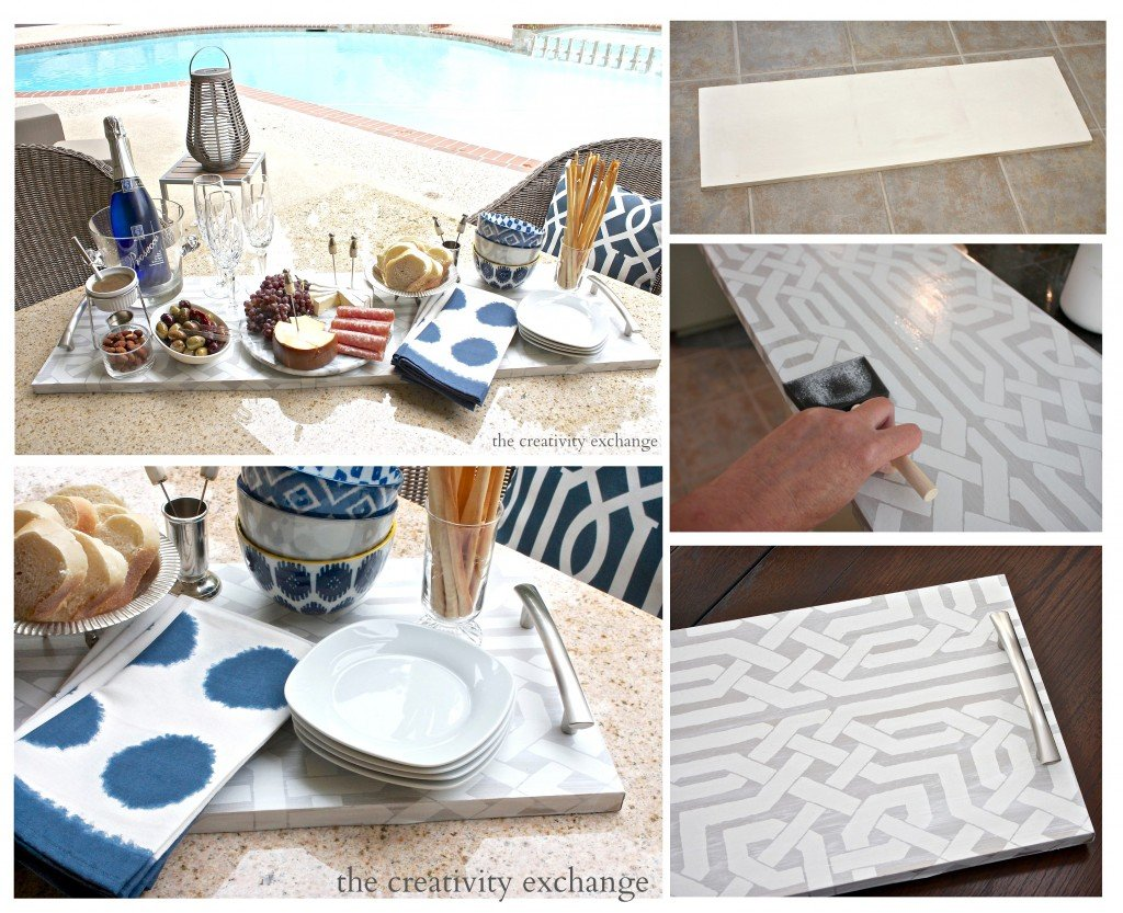 Tutorial for making oversized trays with plywood boards.  You can paint or cover in wallpaper and add cabinet hardware.  The Creativity Exchange