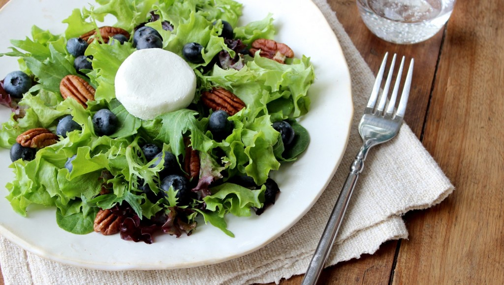 Blueberry and Goat Cheese Salad. Blueberry Council.  Weekend Mix