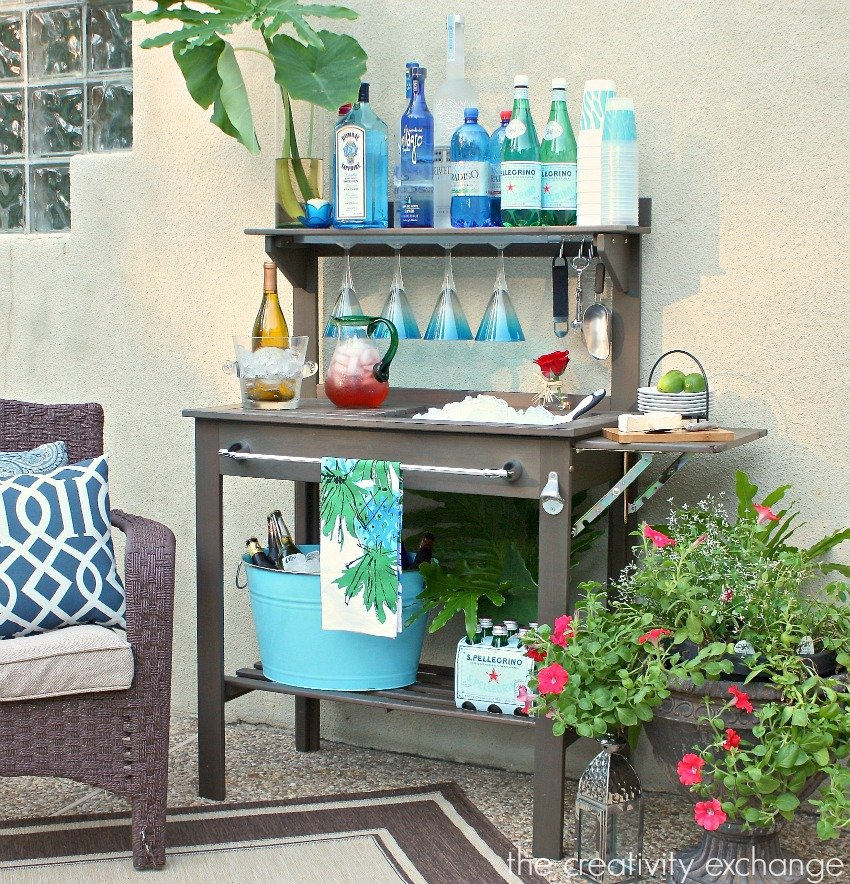 - Potting Bench Turned Outdoor Bar