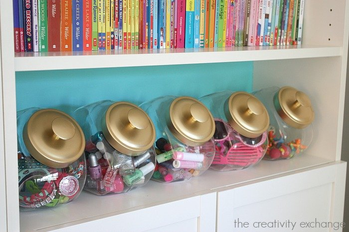 Use candy jars to organize the little stuff in kid spaces. The Creativity Exchange