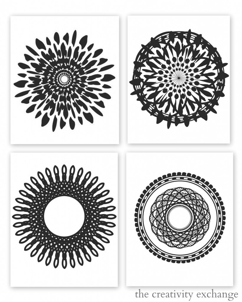 Free printable collection of modern black and white prints.  Just add a mat and frame.  The Creativity Exchange