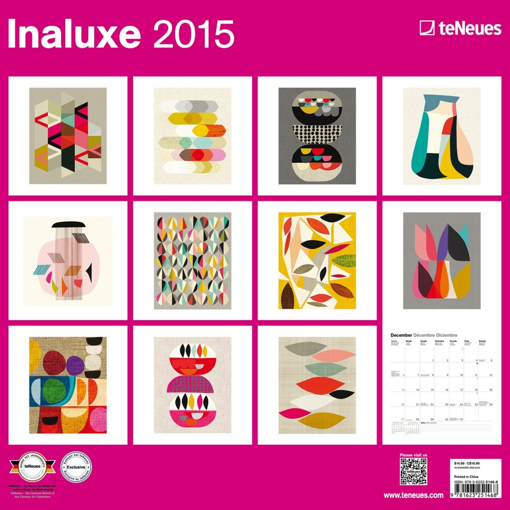Inaluxe 2015 wall calendar that is perfect for framing artwork.  The Creativity exchange