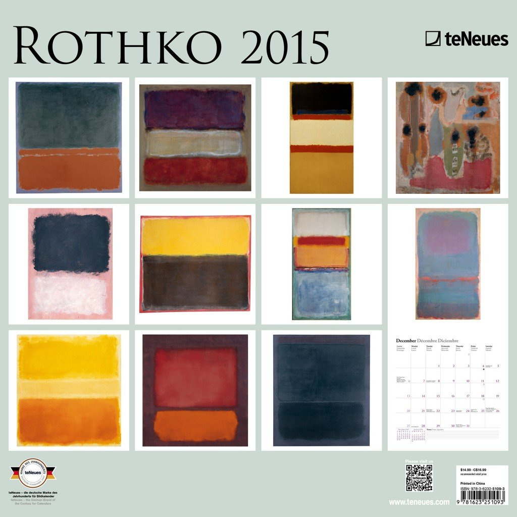 Rothko 2015 Calendar.  Perfect for framing art for gallery wall.