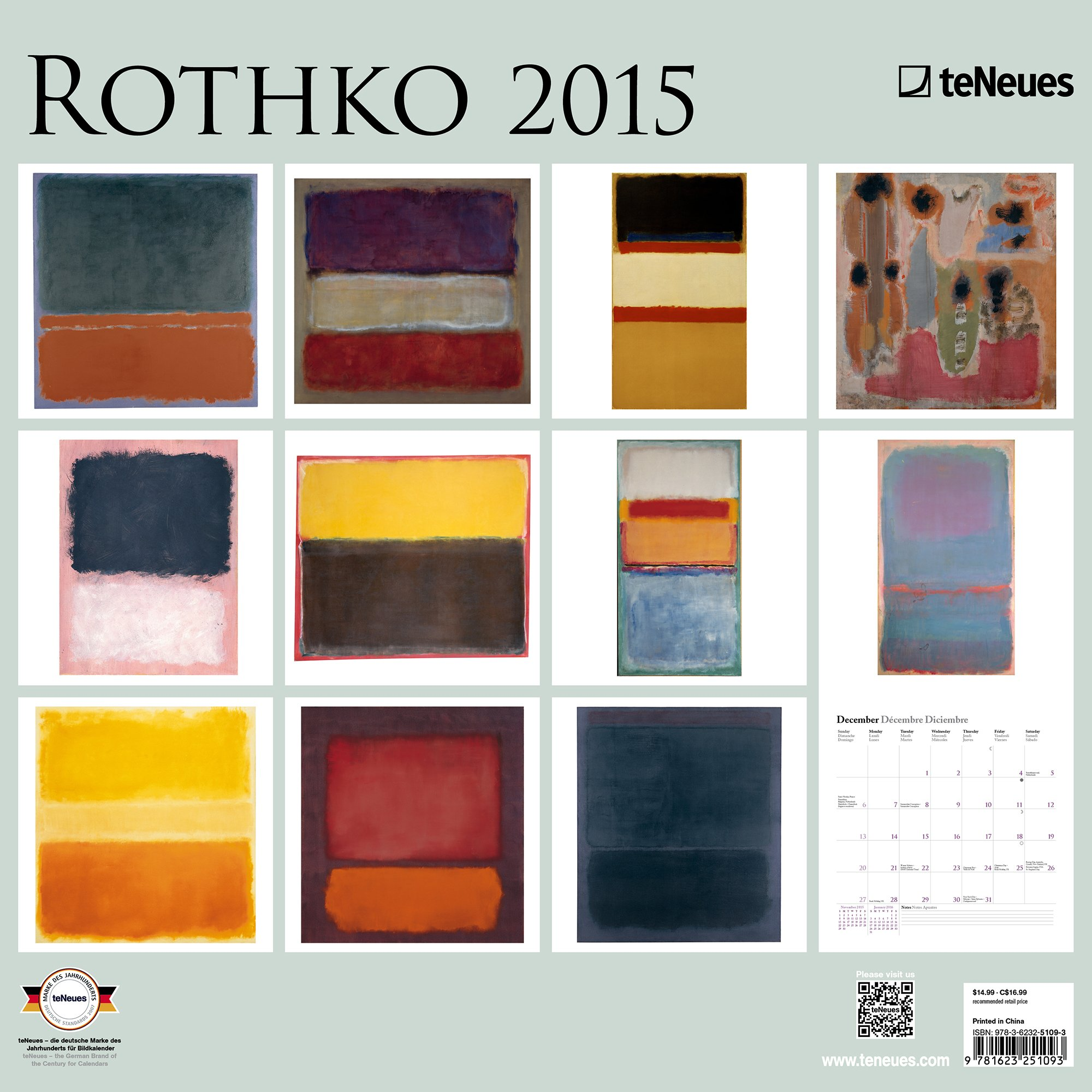 rothko 2015 calendar perfect for framing art for gallery wall