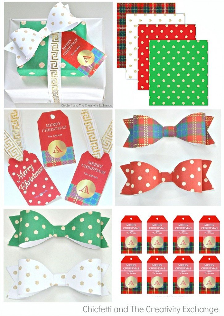 photograph about Free Printable Christmas Paper named Absolutely free Xmas Printables: Present Tags, Wrap Paper and Bows