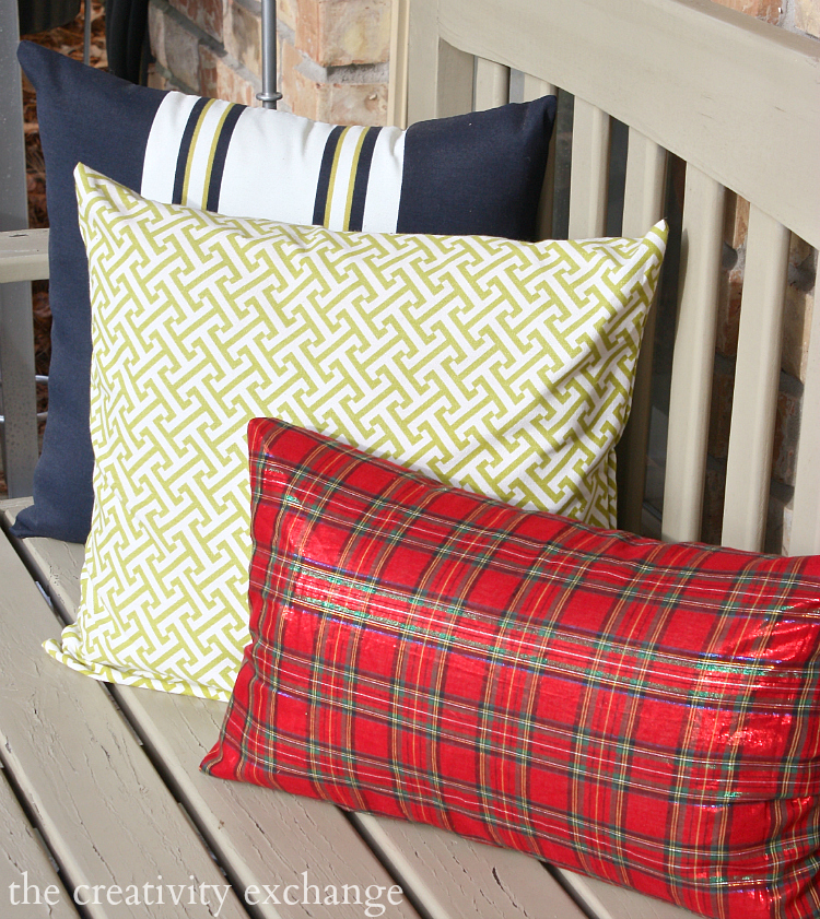 Christmas plaid mixed with green and navy.  The Creativity Exchange Christmas home tour.