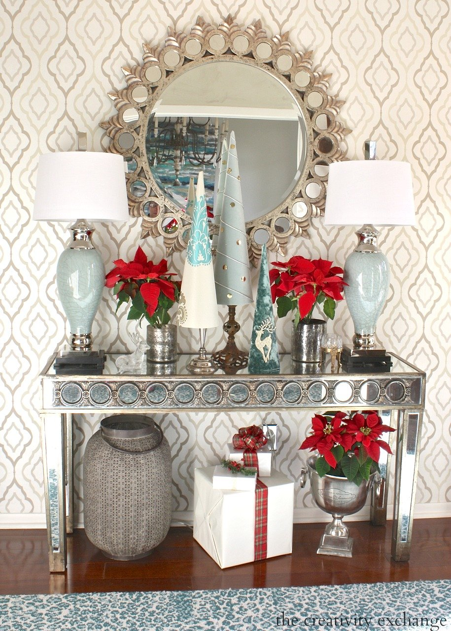 Entry Way decorated for Christmas.  The Creativity Exchange Christmas Home Tour.