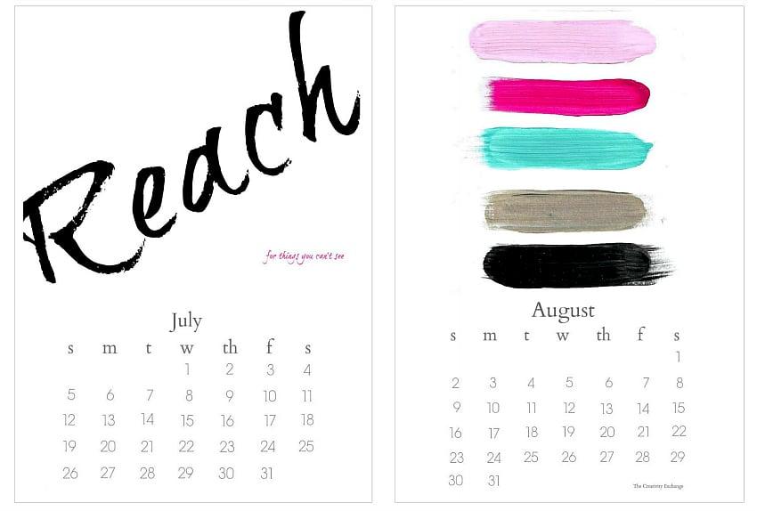 Free 2015 printable desktop calendar from  The Creativity Exchange