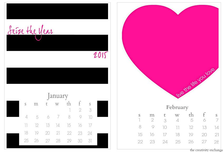 Free 2015 printable desktop calendar.  The Creativity Exchange