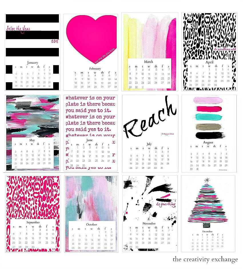 Free printable 2015 Colorful Desktop Calendar.  The Creativity Exchange