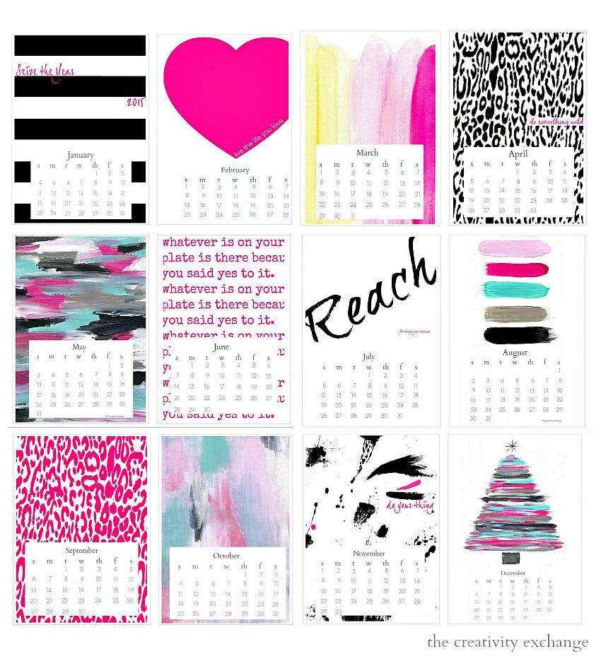 Free printable 2015 Desktop Calendar.  The Creativity Exchange