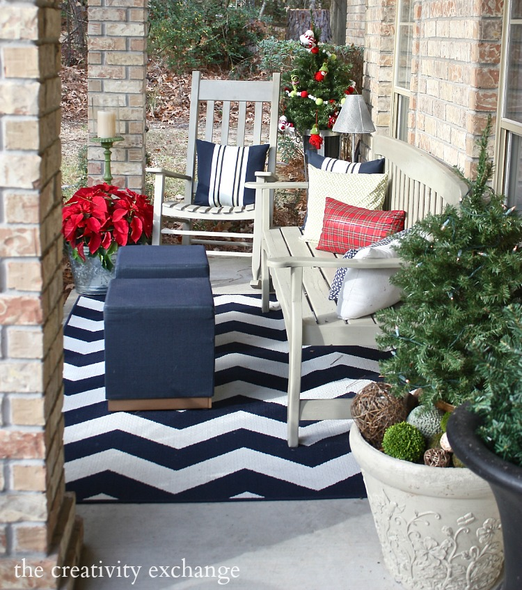 Front Porch Decorated for Christmas. The Creativity Exchange