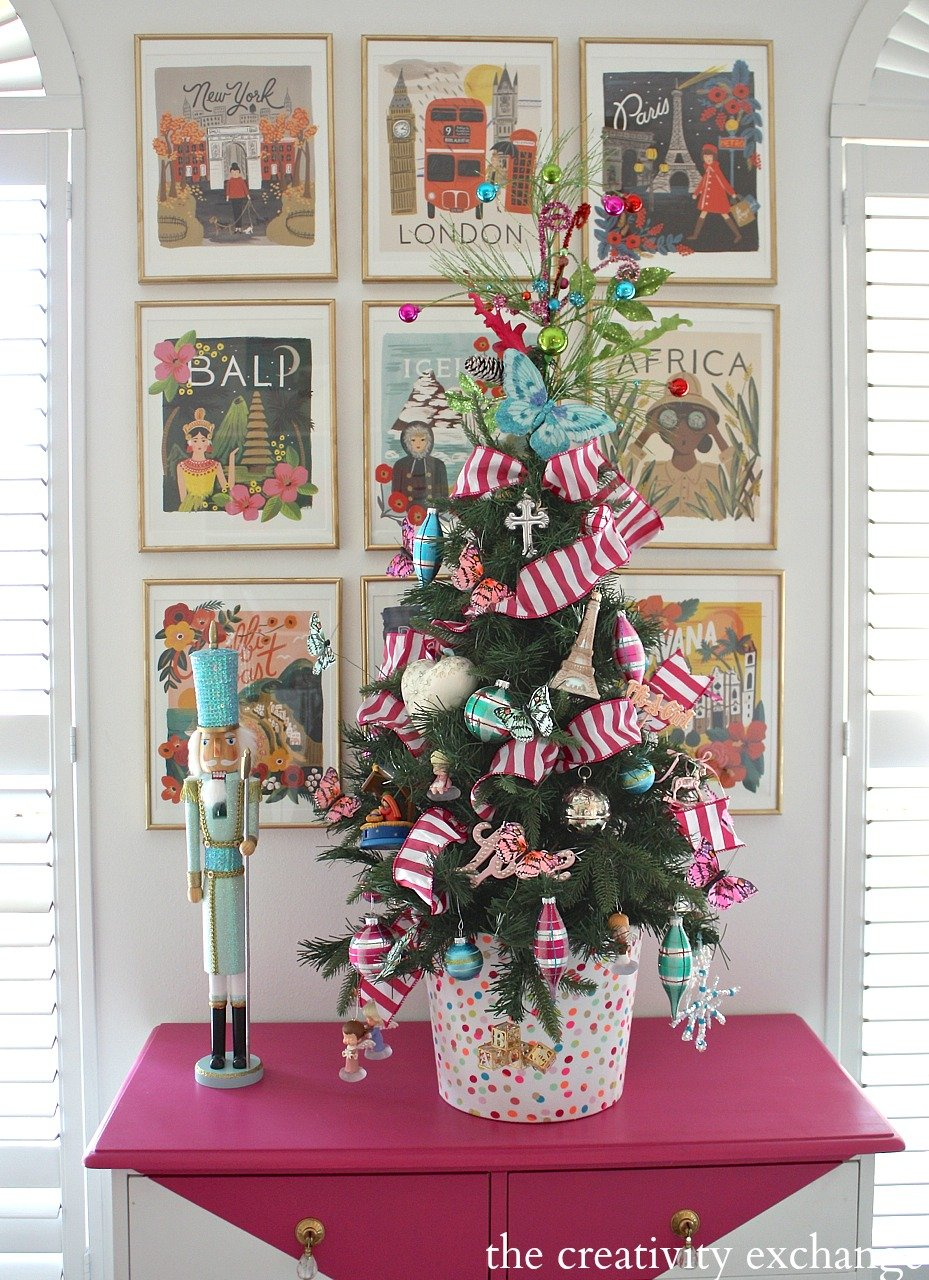Little Girls Butterfly Christmas Tree.