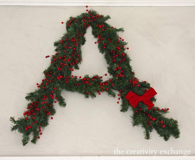 Monogram Christmas wreath. The Creativity Exchange