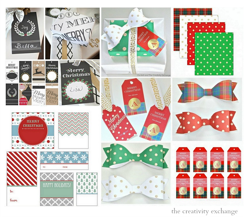 Over 20 free printable Christmas gift tags, labels and wrapping paper. The Creativity Exchange