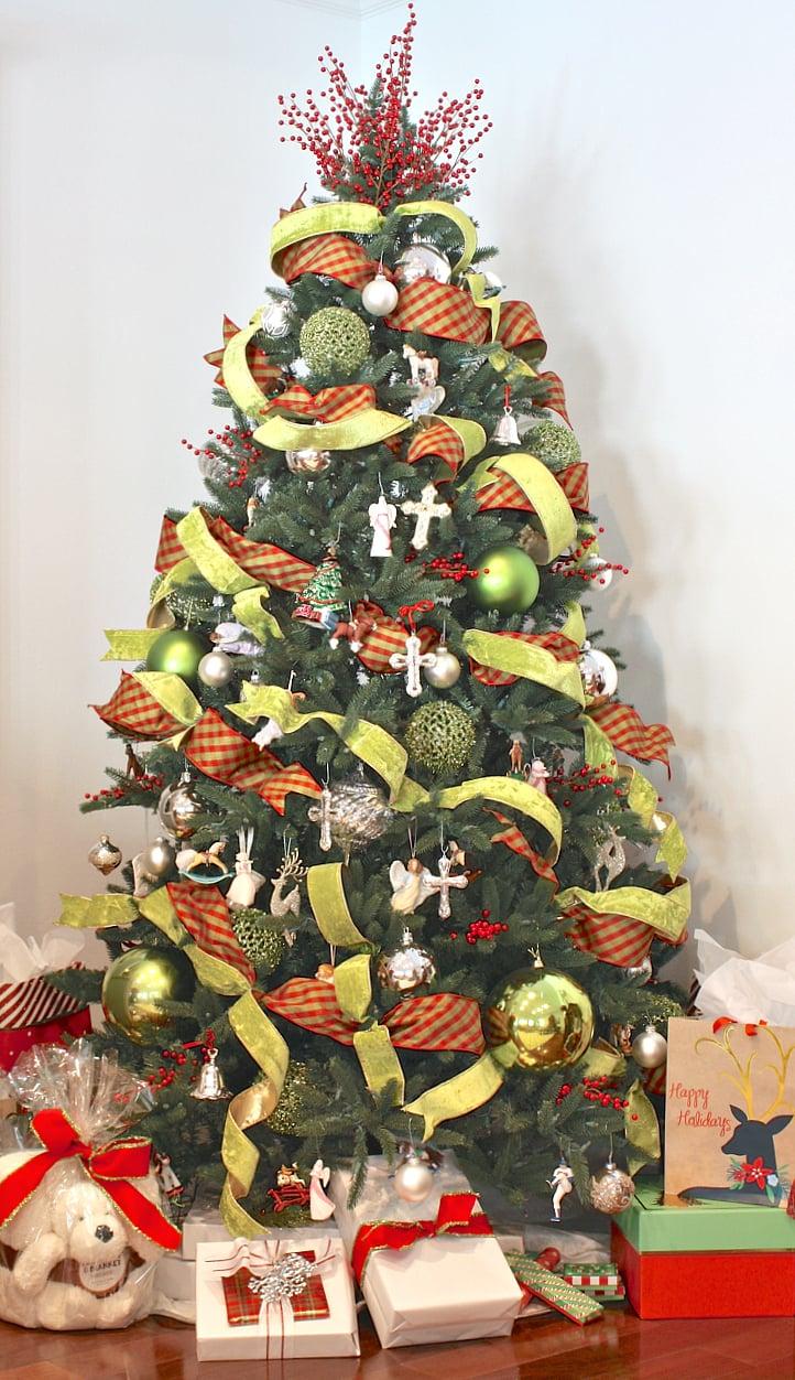 Ribbon Layered Christmas tree. The Creativity Exchange Christmas Home Tour.