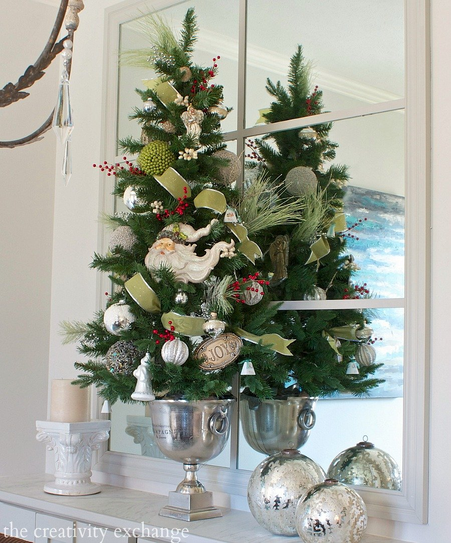 Tall table top Christmas tree in champagne bucket. The Creativity Exchange Christmas Home Tour