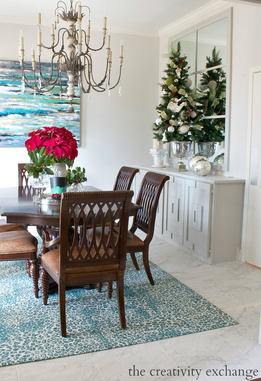Tall tabletop Christmas tree in champagne bucket.  The Creativity Exchange Christmas Home Tour