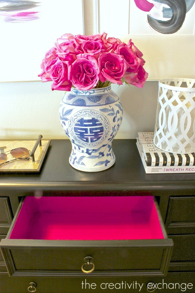 Paint inside of drawers for a fun pop of color.