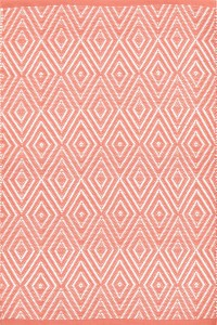 Dash and Albert Coral and White Diamond Indoor and outdoor rug.