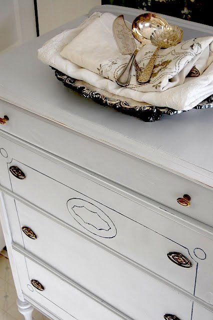 Dresser painted in Manhattan Mist from Behr. From 551 East Design. !6 of the best furniture paint colors.
