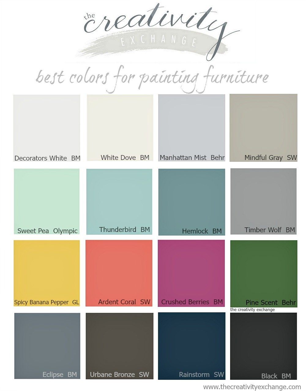 best paint colors16 of the Best Paint Colors for Painting Furniture