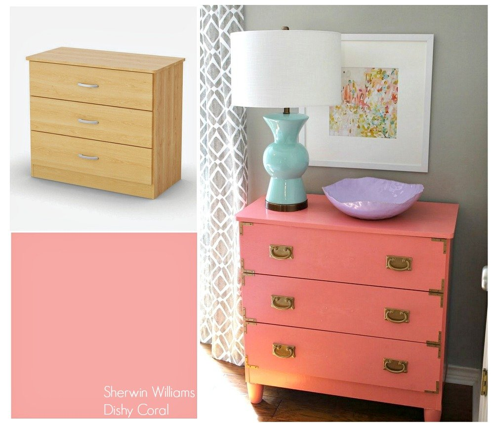Inexpensive Walmart dresser transformed with new hardware and paint into a gorgeous campaign dresser.