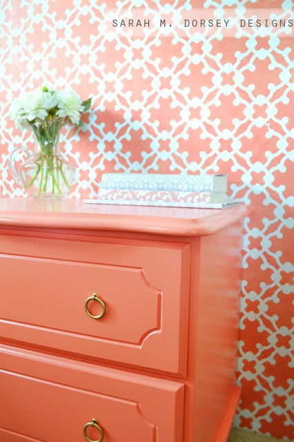 Dresser painted in Ardent Coral Sherwin Williams. Sarah M. Dorsey Designs