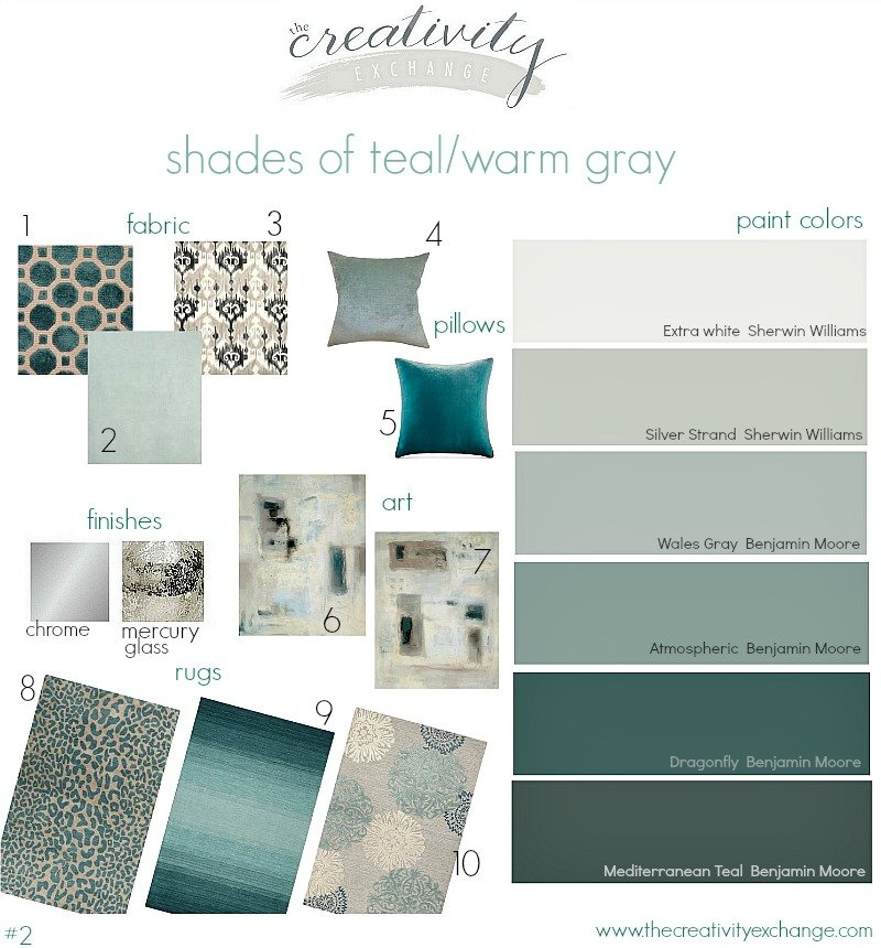 Shades of teal layered with warm gray. Moody Monday from The Creativity Exchange