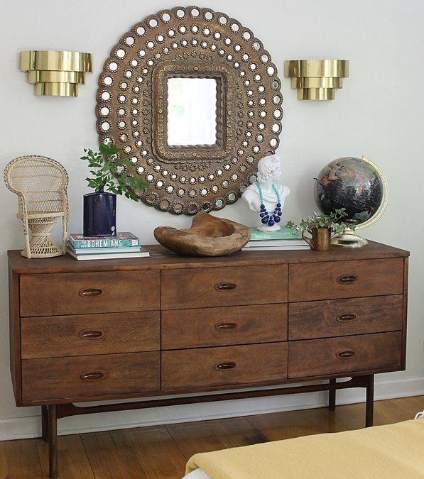 Craigslist trash to treasure mid century dresser revamp.