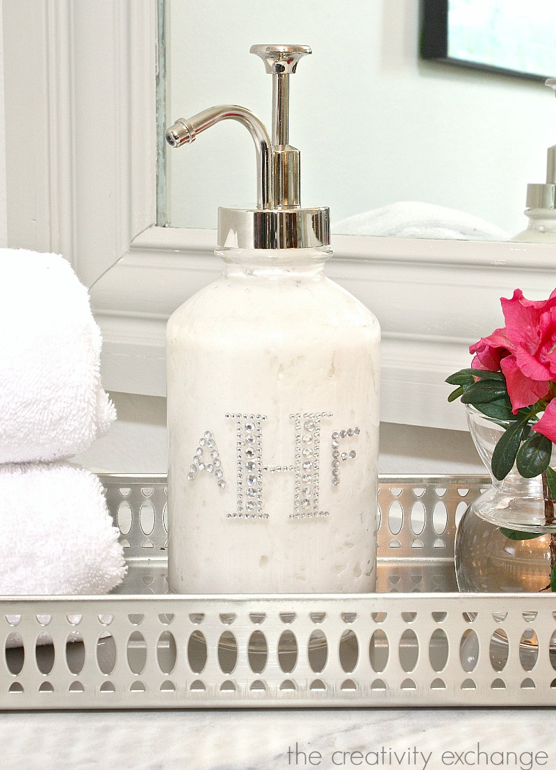 DIY monogrammed lotion pump and amazing lotion recipe. Great gift idea.   The Creativity Exchange