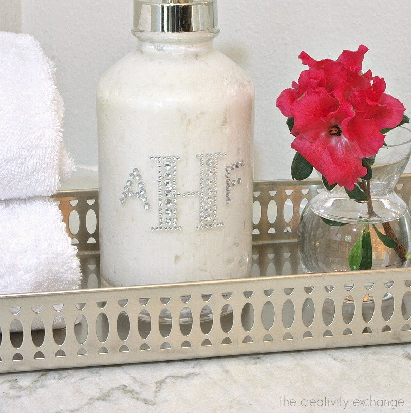 Monogrammed rhinestone lotion dispenser and amazing lotion recipe.  Great gift idea.   The Creativity Exchange