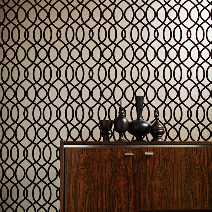 Flock russet wallpaper Kelly Hoppen for Graham Brown