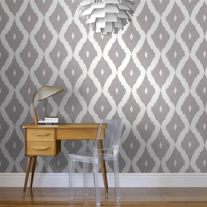 Kelly's Ikat wallpaper in Soft Gray.  Graham Brown.  Wallpaper Crush