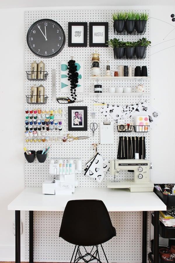 Office pegboard storage wall.