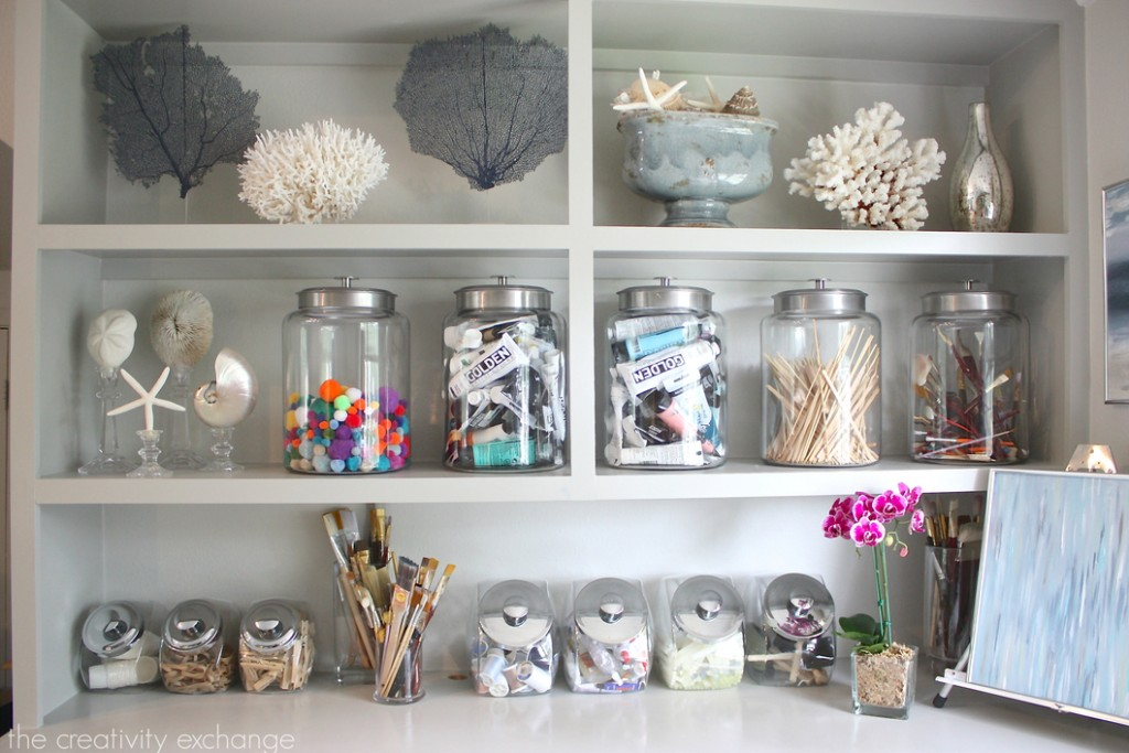 Organizing with candy and cookie jars. Jar sources on The Creativity Exchange