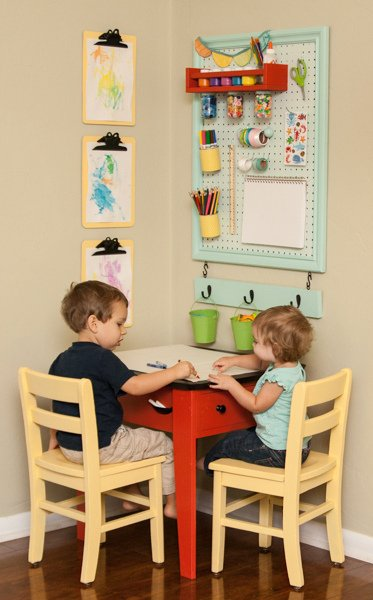 create an art station with pegboard