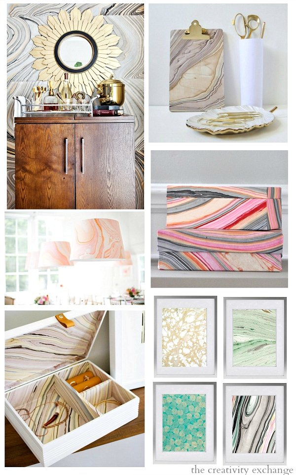 12 Creative Ways to use Hand Dyed and Marble Paper and Where to Order Them.   The Creativity Exchange