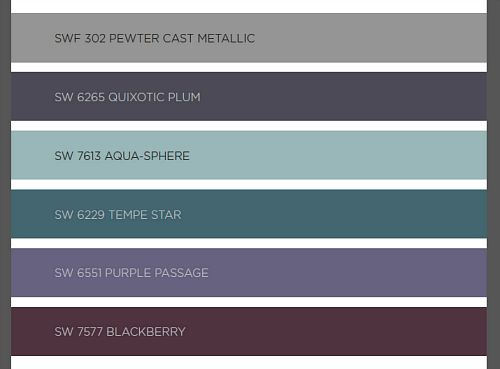 2016 Sherwin Williams Color Forecast. Four groups of colors. This group is called Trajectory.