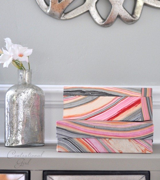Creative projects for using marbled or hand dyed papers.