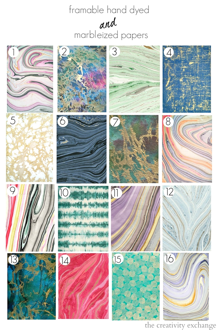 Inexpensive hand dyed and marbleized papers that are beautiful framed.  The Creativity Exchange